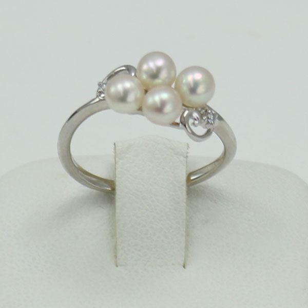 真珠 パール 指輪 リング あこや真珠 パール リング 指輪 アコヤ本真珠 4mm-4.5mm 4pcs ベビーパール デザイン K18WG ダイヤ