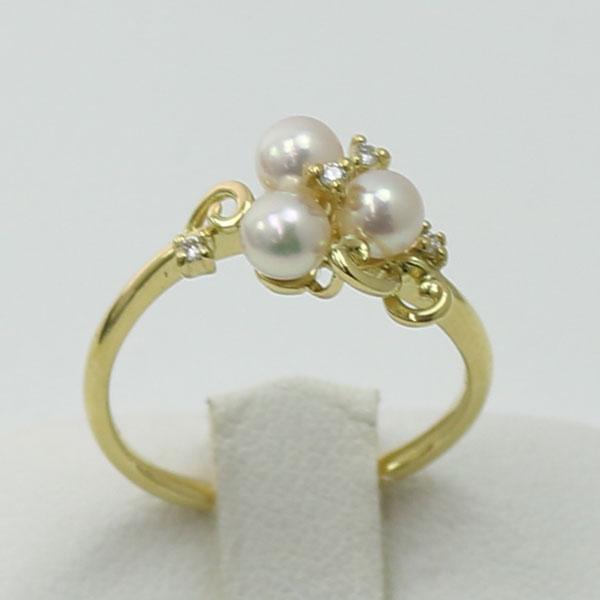 真珠 パール 指輪 リング あこや真珠 パール指輪 リング デザイン 4mm-4.5mm 3PCS ベビーパール ホワイトピンクカラー K18 アコヤ本真珠 ダイヤ