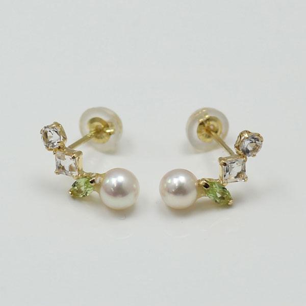 真珠 パール ピアス ベビーパール 4mm-5mm K18WGかK18半貴石 ホワイトカラー デザイン あこや真珠