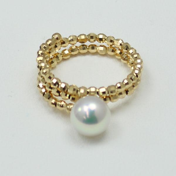 真珠 指輪 パール リング あこや真珠 パール 指輪 リング アコヤ真珠 7.5mm-8mm ホワイトカラー デザイン あこや本真珠 K18 K18WG Lサイズ