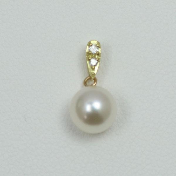 真珠 パール ペンダント あこや真珠 パールペンダント 6.5mm-7mm ホワイトカラー デザイン K18 K18WG ダイヤ 冠婚葬祭 カジュアル プレゼント