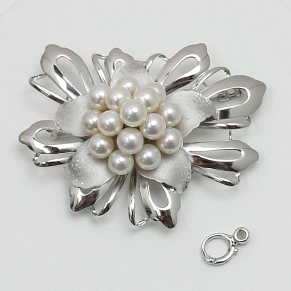 真珠 パール ブローチ あこや真珠 パールブローチ 7mm-7.5mm 15pcs ホワイトカラー デザイン 冠婚葬祭 卒業式 入学式 フォーマル