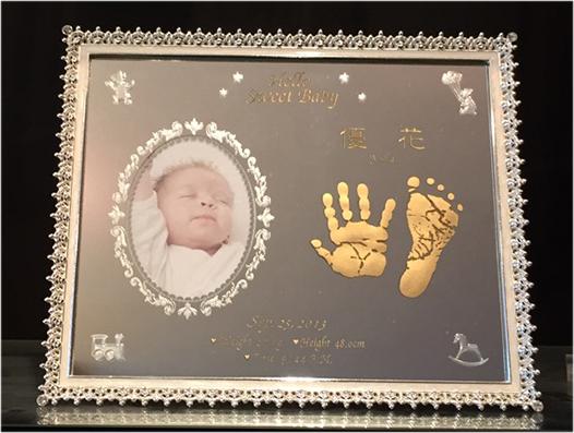 Baby手形足形ミラーフレーム3個セット**【誕生・出産・内祝い*名入彫刻】