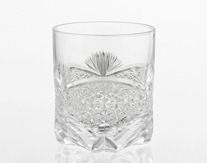 カガミクリスタル 江戸切子ロックグラス*笹っ葉に菊つなぎ紋【名入れ彫刻】