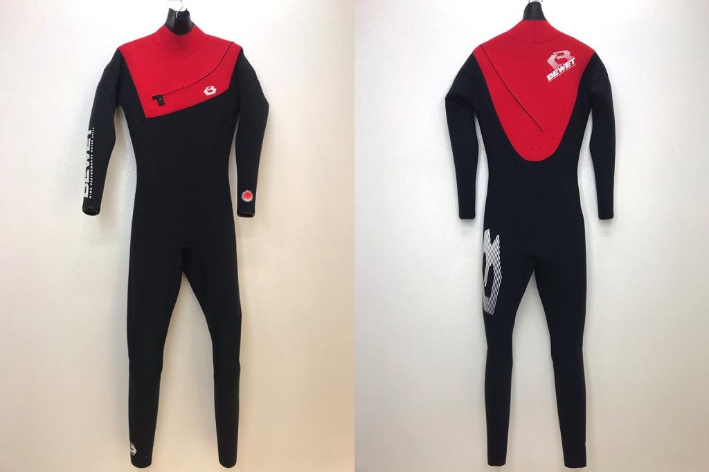 サーフィン フルスーツ ビーウェット 2018 Be Wet BEWET FREE SHOULDER 3mm SA ( サイズ L ) ブラック/レッド
