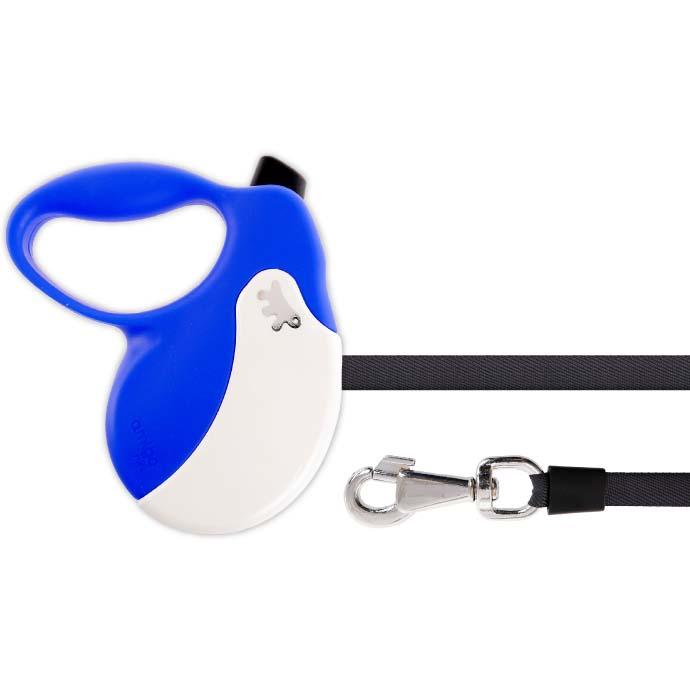 送料無料 犬 伸縮 リード AMIGO M 青白 テープ 長5m 体重25kgまで ペット用品 ferplast ファープラスト アミーゴ 伸縮式リード Fa5231
