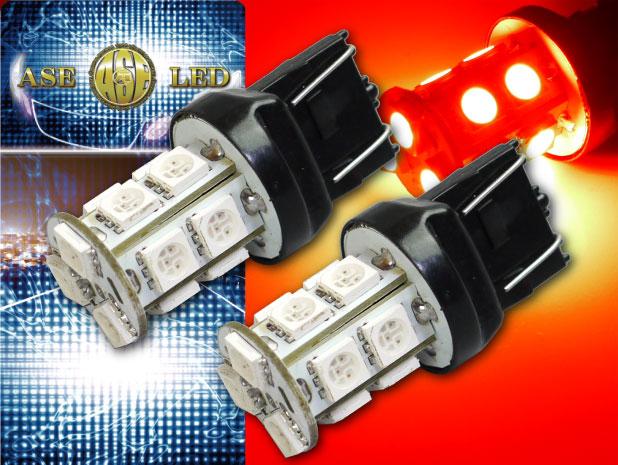ピンチ部違い対応ブレーキ球 ウインカー 最新号掲載アイテム バックランプ球に最適 税込 T20ダブル球LEDバルブ13連レッド2個 3ChipSMD T20 as102-2 高輝度T20 ウェッジ球 明るいT20 LEDバルブ