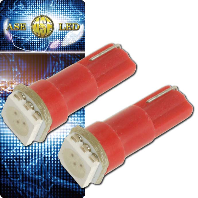 メーター球/パネル球等に最適 コンパクト設計明るく長寿命 LEDバルブT5レッド2個 3chip内蔵SMD T5 LED バルブメーター球 高輝度T5 LED バルブ メーター球 明るいT5 LED バルブ メーター球 as10196-2