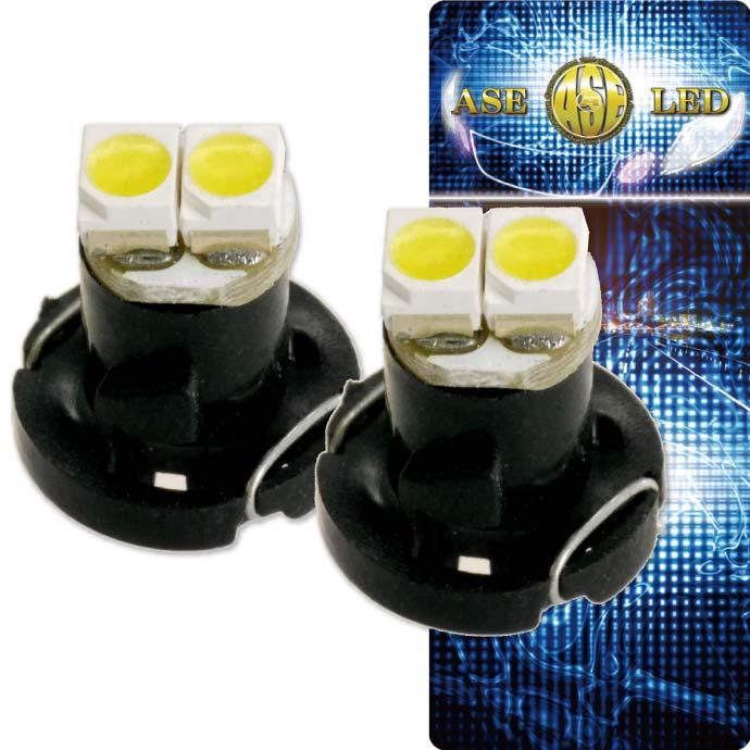 メーター球/パネル球等に最適 コンパクト設計明るく長寿命 2連 LED T4.2 バルブ メーターパネル球 ホワイト2個 LEDルーム メーターランプ球 パネル球 as11126-2