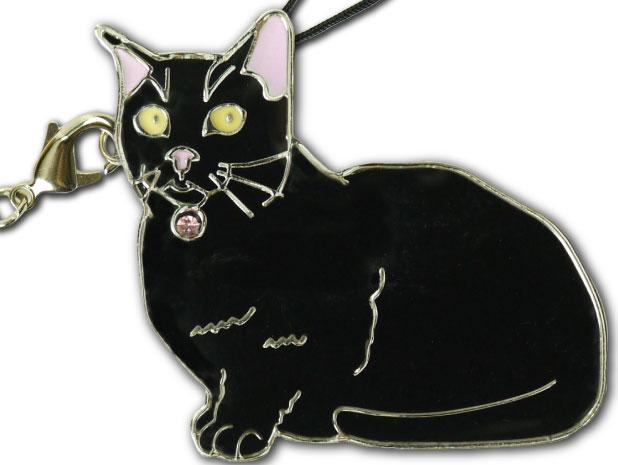 全商品オープニング価格 携帯ストラップやキーホルダーなど多用途でかわいいチャーム 『4年保証』 マンチカン黒 Ad115 愛猫ストラップ金属チャーム