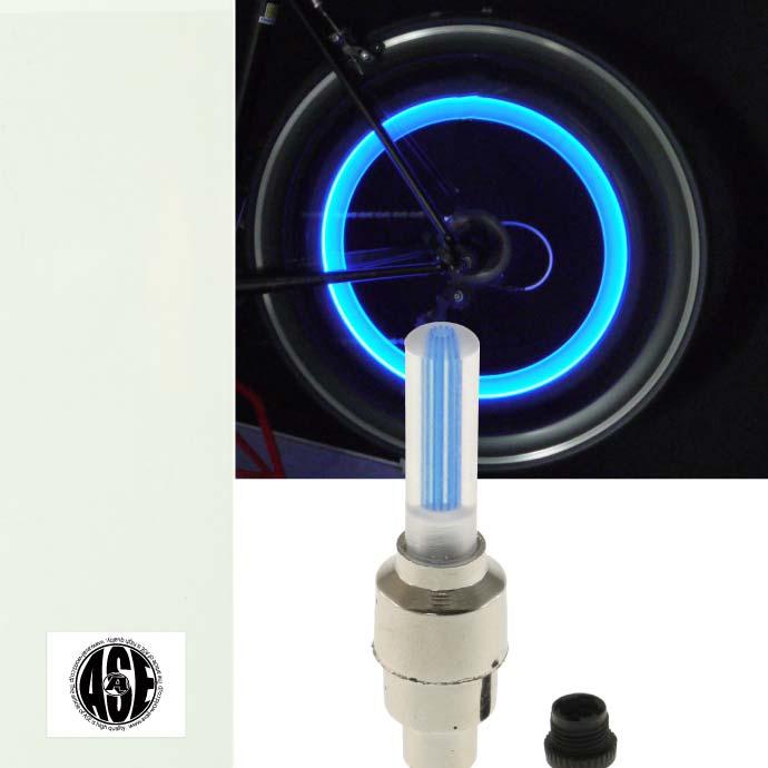 光るタイヤバルブキャップ 走ると光の輪のような感じ 自転車タイヤバルブキャップLEDライトブルー1個 格安店 メーカー直売 動くと光る 綺麗な光自転車LEDライト 明るい自転車LEDライト LED ライト 夜間も安全自転車 as20025