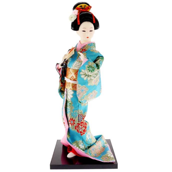 送料無料 日本人形 31cm(12インチ) 7 青 扇子 本格派人形 着物が綺麗な日本人形 ms9006