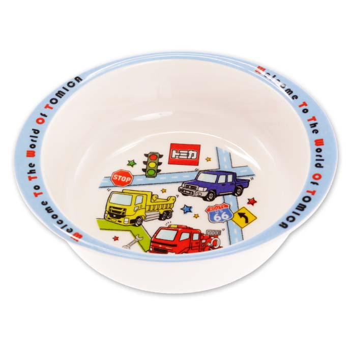 上手にこぼさずに食べやすい形状 内側返りがあってすくいやすい TOMICA トミカ メラミン製ボウル お皿 M340 キャラクターグッズ お子様用取り皿 茶碗 Sk1533
