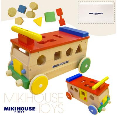 【MIKIHOUSE】ミキハウス木のおもちゃ【箱付】ブッブー♪乗って遊べる木製パズルバス【新商品続々入荷中♪】 upup7 apap8 fs04gm