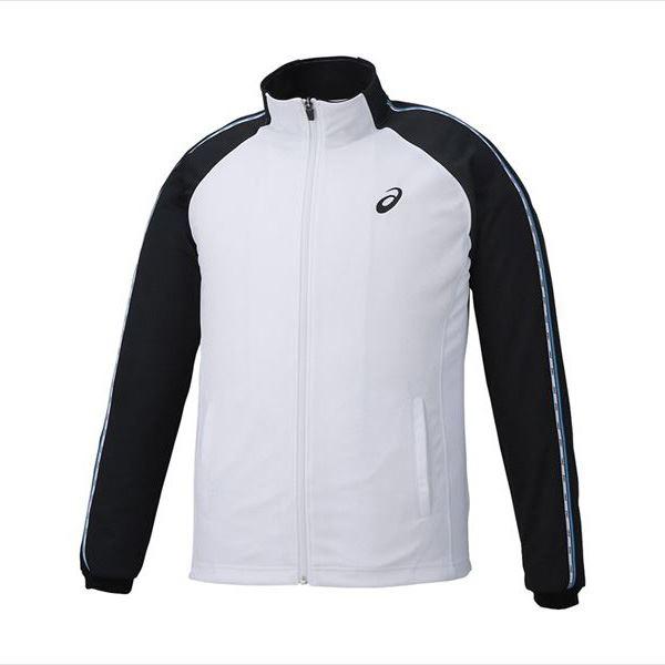 送料無料(※沖縄除く)[asics]アシックストレーニングジャケット(XAT188)(0190)ホワイト×ブラック
