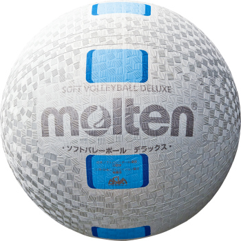 ソフトバレーボール ボール molten モルテンソフトバレーボールデラックス糸巻タイプ S3Y1500-WC ファミリー用 卸売り ホワイト×シアン 出色