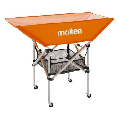 [molten]モルテン折りたたみ式平型ボールカゴ 背低93cm4点セット(フレーム・幕体・小物ネット・キャリーケース)(BK0032-O)オレンジ