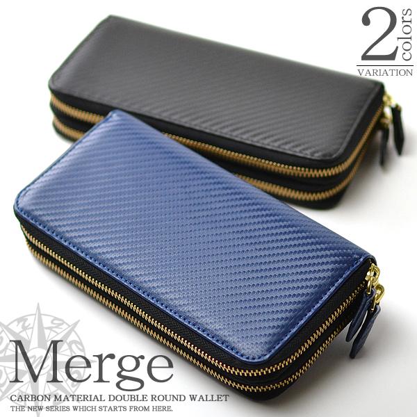 ba7343f6a4e8 長財布メンズカーボン加工×牛革ラウンドファスナーロングウォレットカード収納大容量本