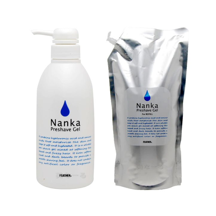 ヒアルロン酸 高級な アミノ酸新配合 塗ってそのままシェービング お得なセット 定番から日本未入荷 フェザープレシェーブジェル 500g 軟化 ポンプ式 レフィル1kgのセット Nanka