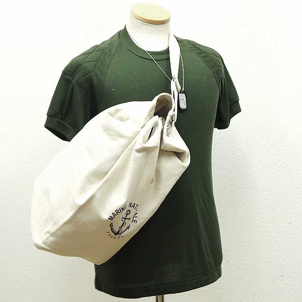 59b2bc8e774 Brand new ◇ France army MARINE NATIONALE Duffle Bag cotton canvas replica  white ♪ deadstock military Boston camp army of outdoor reprint