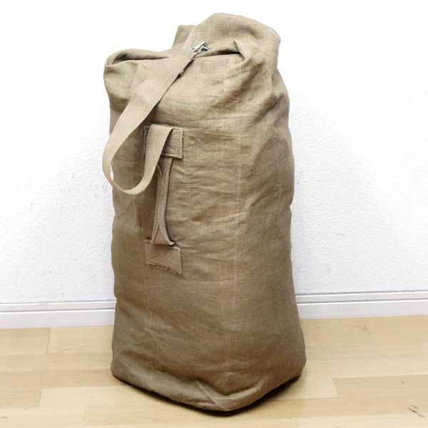 0529c938f58 1950s vintage khaki ♪ dead stock military Boston camping forces thing  outdoor made of new ◇ real thing French military duffel bag cotton canvas