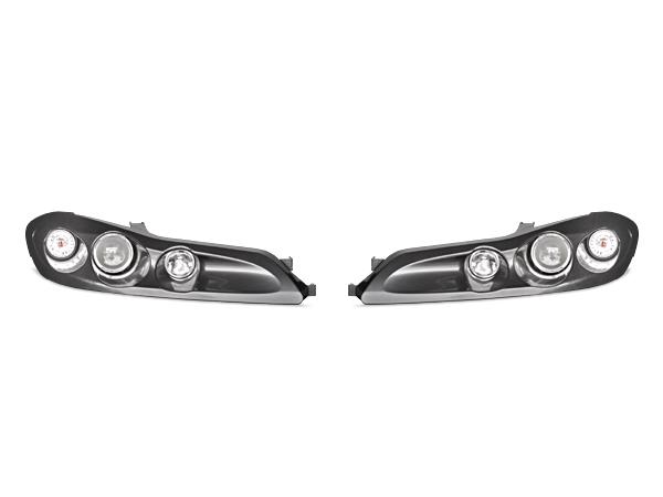 【新品】送料無料! 日産 S15 シルビア ダブルプロジェクターヘッドライト ブラック キセノン風ブラック 左右セット ツインプロジェクターランプ
