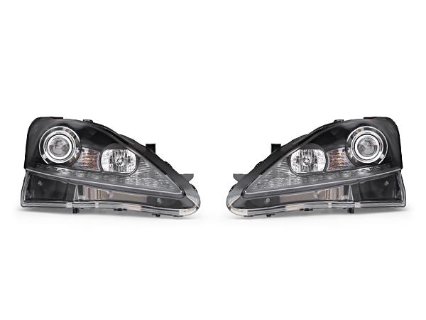 LEXUS レクサス IS250 IS350 後期風LED付プロジェクターヘッドライト ブラックインナー 黒 LEDウィンカー 後期ルック 純正キセノン(HID)対応 左右セット