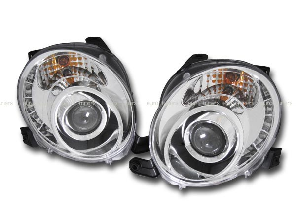 フィアット アバルト 500 チンクエチェント LED付プロジェクターヘッドライト ヘッドランプ クローム インナーメッキ SONAR製