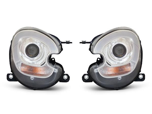 ミニ クロスオーバー R60 ペースマン R61 純正バイキセノン車 LEDファイバー付ヘッドライト クロームメッキ