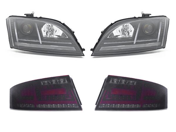 アウディ TT 8J 現行8Sルック マトリクスLEDスタイル ブラックヘッドライト+スモークテールセット 保証付 SONAR正規品 AFS非対応