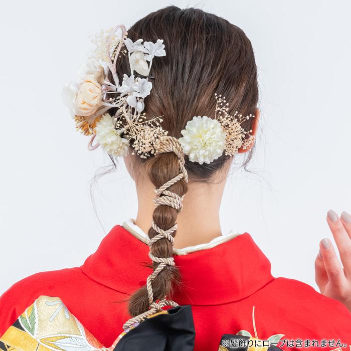 髪飾り 花 5 OFFクーポン配布中・3点で使える 髪飾り 成人式 2点セット 花 ミニ uピン コーム ちりめん かすみ草 赤wN08POknX