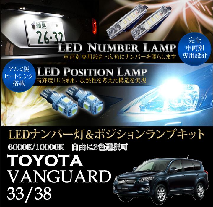 トヨタ ヴァンガード【VANGUARD33/38】専用LEDナンバー灯ユニット&ポジションランプキット 2個1セット3色選択可 高輝度3チップLED(SC)