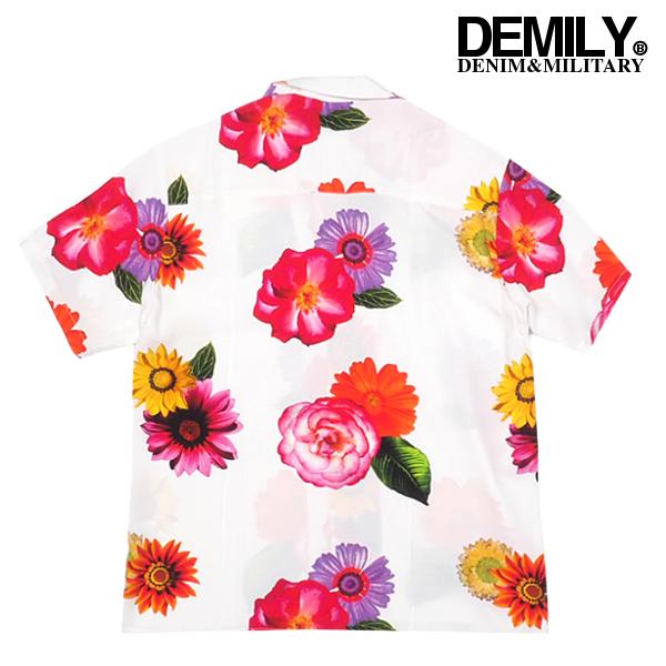 DEMILY/デミリー/オープンカラー花柄半袖シャツ/ブラック/黒/カジュアル/