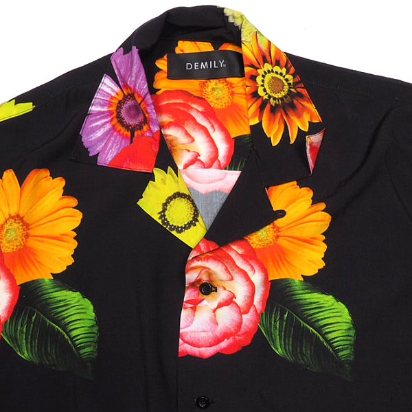 SALE在庫限りDEMILYデミリーオープンカラー花柄シャツBLACKブラック黒フラワー柄シャツ半袖シャツカジュアルストリートメンズ送料無料