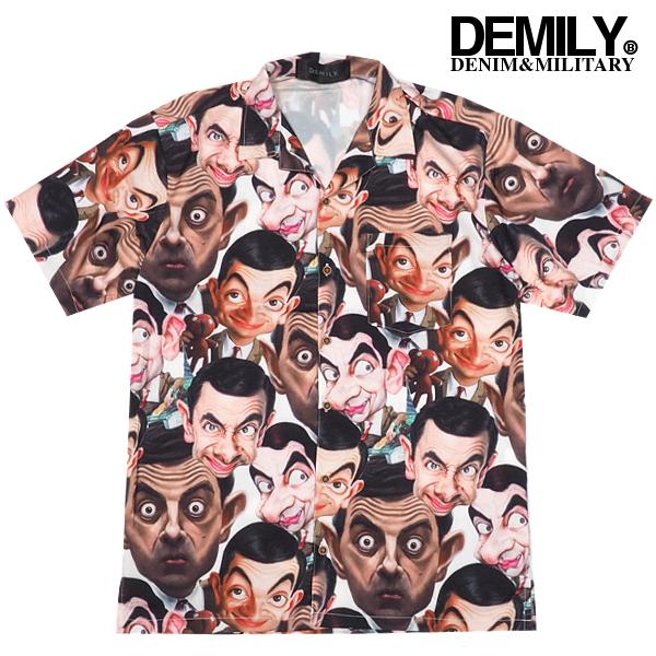 SALE在庫限りDEMILYデミリー「Mr.Bean」プリントオープンカラーシャツ総柄プリント開襟シャツ大きいサイズ半袖シャツ柄シャツメンズストリートカジュアルモード送料無料