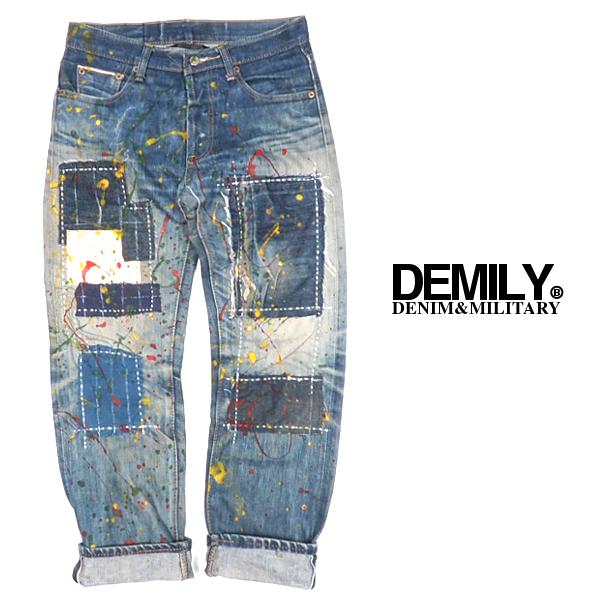 DEMILY/デミリー/古着リメイクパッチワークペイントデニム/WASH/一点物