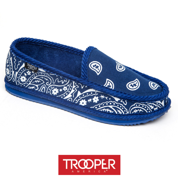 TROOPERAMERICAトゥルーパーアメリカペイズリースリッポンROTALブルー青LAバンダナ柄内側パイルスニーカーシューズ靴サーフカジュアルストリートメンズ送料無料
