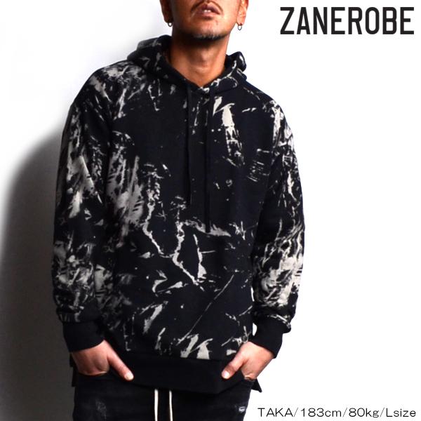 ZANEROBE/ゼインローブ/ブリーチ加工フーディ/パーカー/BLACK/ブラック/ブリーチ/ZR414/メンズ/2019春夏新作/裏毛素材/プルオーバーパーカー/ M/L/XLサイズ/あす楽/送料無料/