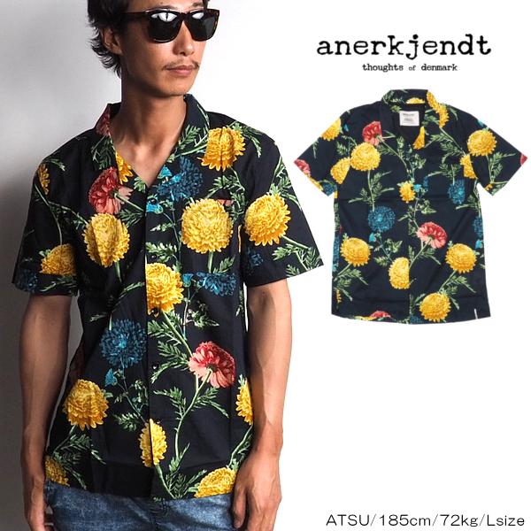 ANERKJENDT/アナケット/フラワーオープンカラーシャツ/BLACK/ブラック/黒/M/L/XL/2019春夏新作/オープンカラー/シャツ/開襟/花柄/メンズ/カジュアル/メール便/ネコポス対応