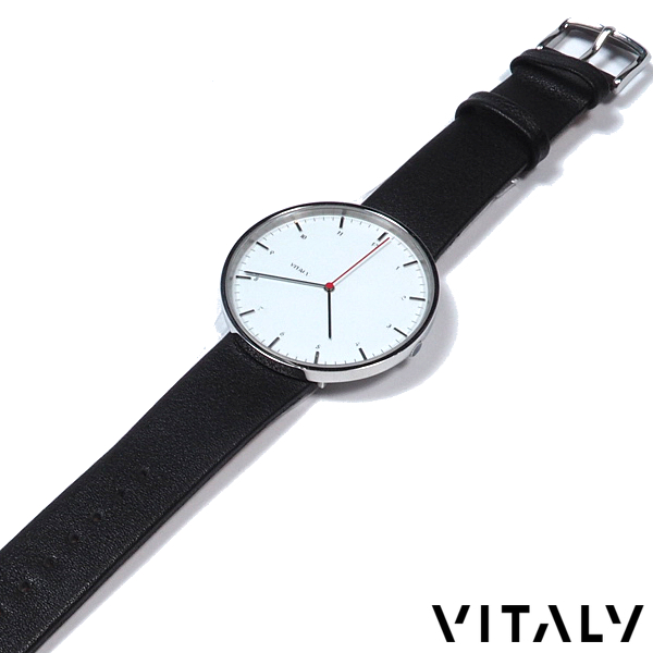 VITALY/ヴァイタリー/レザーバンドウォッチ/40mm文字盤/ホワイトダイヤル/秒針RED/腕時計/メンズ/レディース/ユニセックス/