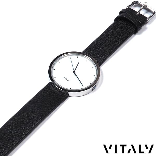 VITALY/ヴァイタリー/レザーバンドウォッチ/40mm文字盤/ホワイトダイヤル/秒針BLK/腕時計/メンズ/レディース/ユニセックス
