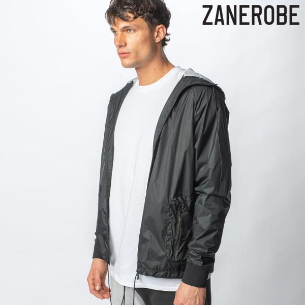 ZANEROBE/ゼインローブ/Utility Storm Spray Jacket/ナイロンZIPパーカー/BLACK/ブラック/黒/ラグランスリーブ/フーディ/スポーティー/ストリート/メンズ/送料無料/新作/