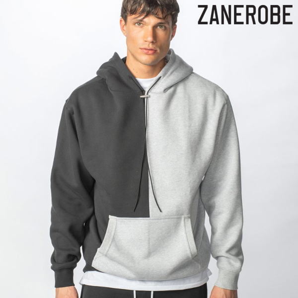 ZANEROBE/ゼインローブ/LOWGO SPLICE HOOD SWEAT/スウェットパーカー/GRAY BLACK/グレー×ブラック/プルオーバーパーカー/フーディ/スポーティー/ストリート/メンズ/送料無料/新作/