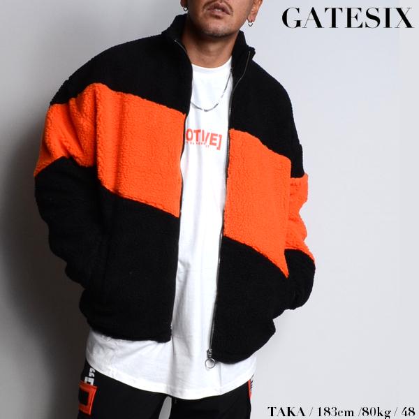 GATESIX/ゲートシックス/ボアスタンドブルゾン/BLACK×NEON ORANGE/ブラック×ネオンオレンジ/スタンドジャケット/ボアジャケット/アウター/ストリート/メンズ/送料無料/新作/
