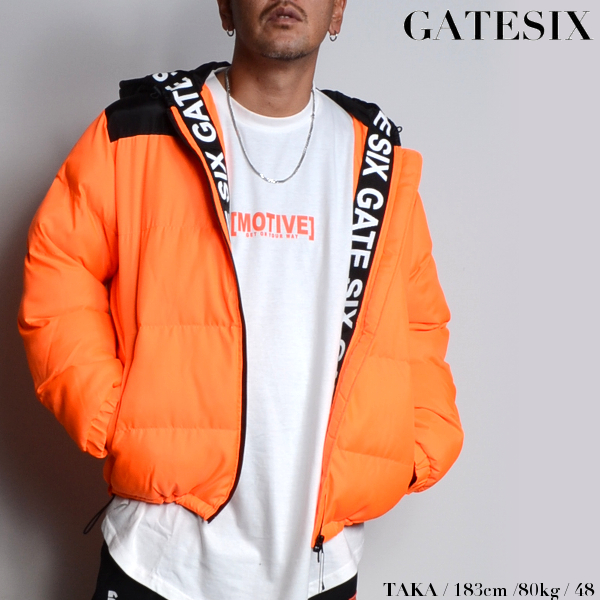 GATESIX/ゲートシックス/中綿入りロゴテープジャケット/ORANGE/オレンジ/フード/フーディジャケット/ブランドロゴ/アウター/コート/カジュアル/モード/ストリート/メンズ/送料無料/新作/