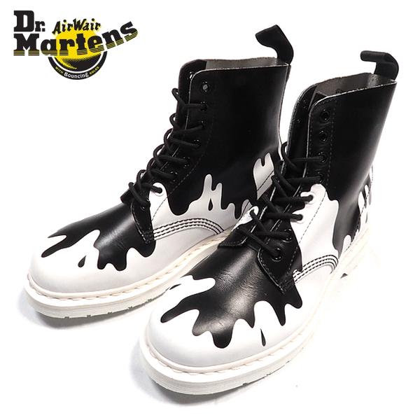 ペンキ8ホールブーツ/WHITE BLACK/ホワイト×ブラック/白黒/ワークブーツ/ショートブーツ/靴/シューズ/ヒールループ/スケーター/パンク/ストリート/メンズ/送料無料/新作/