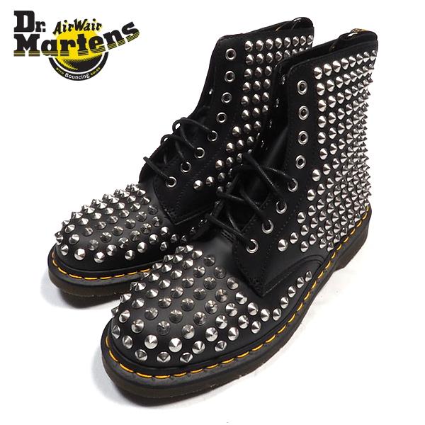 スタッズ8ホールブーツ/BLACK/ブラック/黒/シルバースタッズ/ワークブーツ/ショートブーツ/靴/シューズ/ヒールループ/スケーター/パンク/ストリート/メンズ/送料無料/新作/