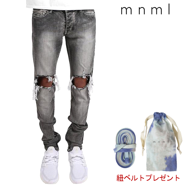 mnml/ミニマル/M1 STRETCH DENIM/GRAY/ダメージクラッシュジーンズ/ストレッチ/裾ZIPジップ/スキニー/スリムフィット/ストリート/