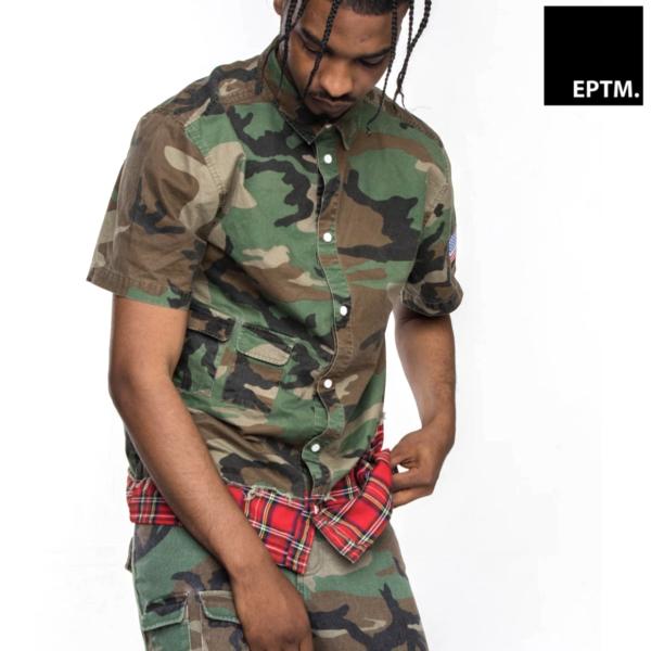 EPTM/エピトミ/カモフラ×チェック半袖ミリタリーシャツ/GREEN CAMO/迷彩/半袖シャツ/メンズ/スポーティ/カジュアル/
