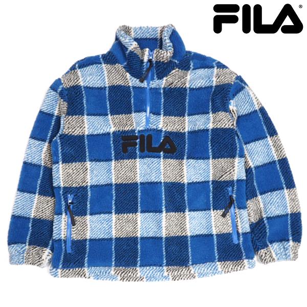 FILA Heritage/チェックスタンドブルゾン/BLUE/ブルー/FM9696/ボアフリースジャケット/ハーフZIPジャケット/ブロックチェック柄/スポーティー/ストリート/フィラヘリテージ/メンズ/送料無料/新作/